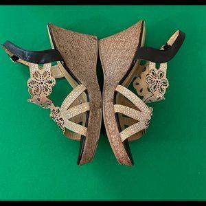 Patrizia Black Gold Sparkle Dress Wedge Shoes